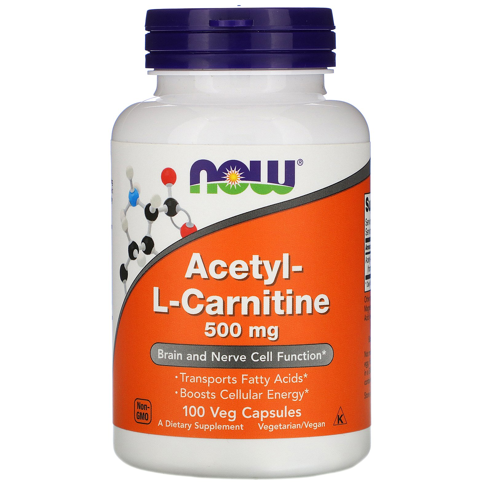 Acetyl-L-Carnitine, Ацетил-L-Карнитин 500 мг - 100 вегетарианских капсул
