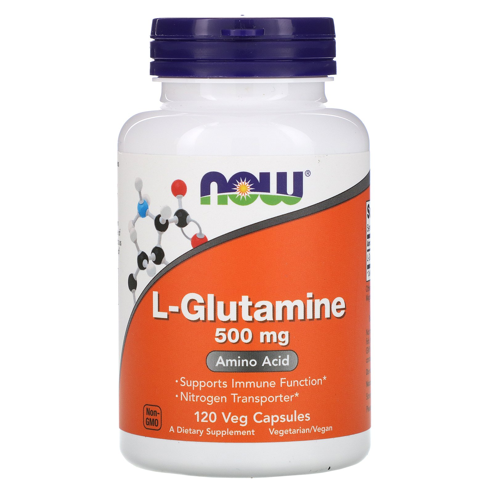 NOW L-Glutamine, L-Глутамин 500 мг - 120 капсул