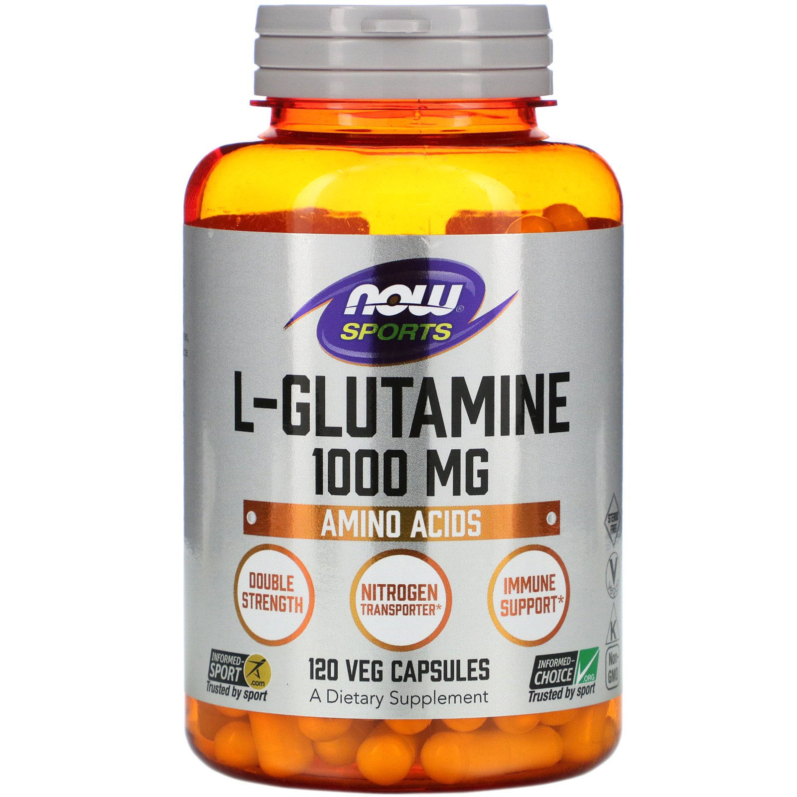 NOW L-Glutamine, L-Глутамин 1000 мг - 120 капсул
