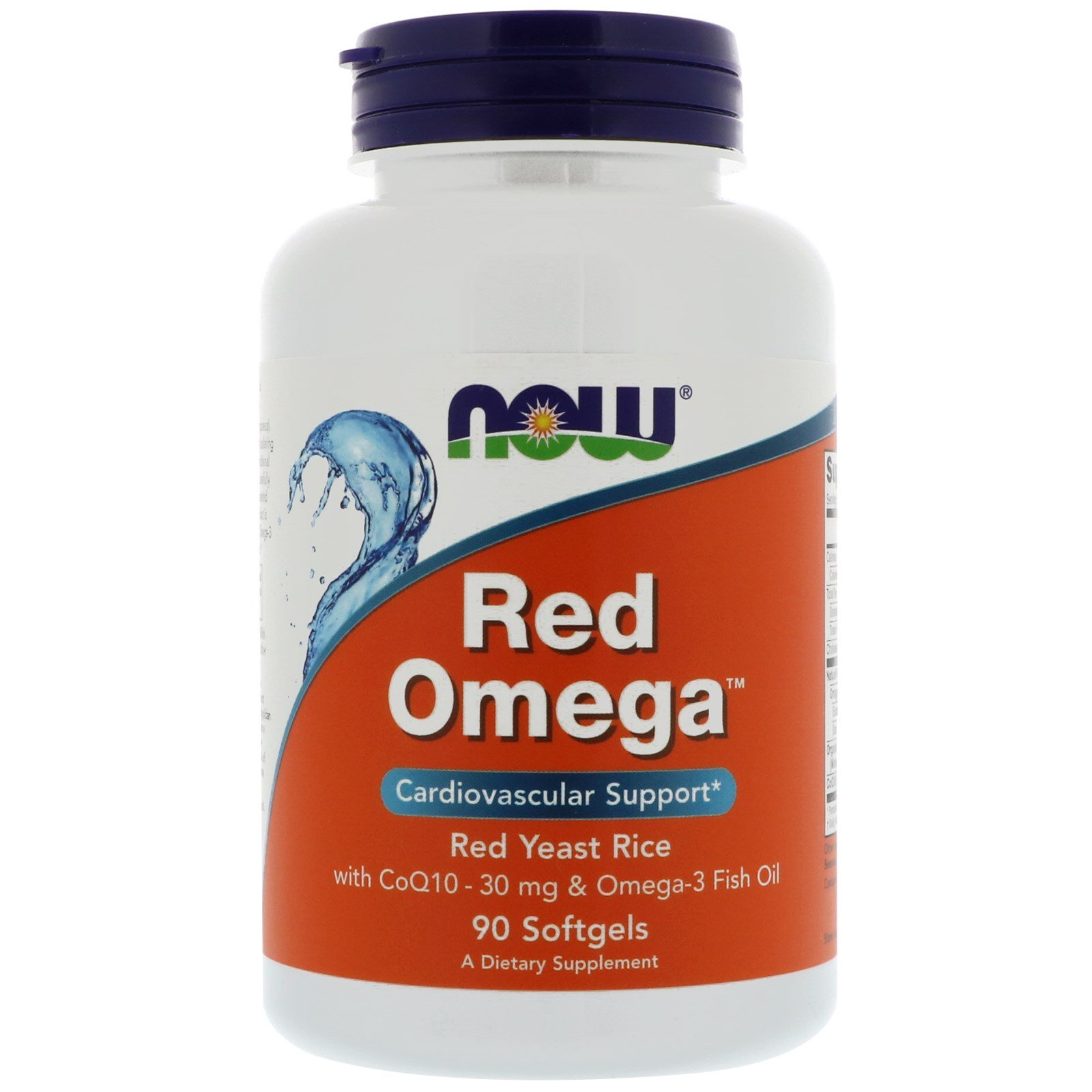 NOW Omega-3, Red Rice + Q10, Омега-3 Красный Рис + Q10 - 90 капсул