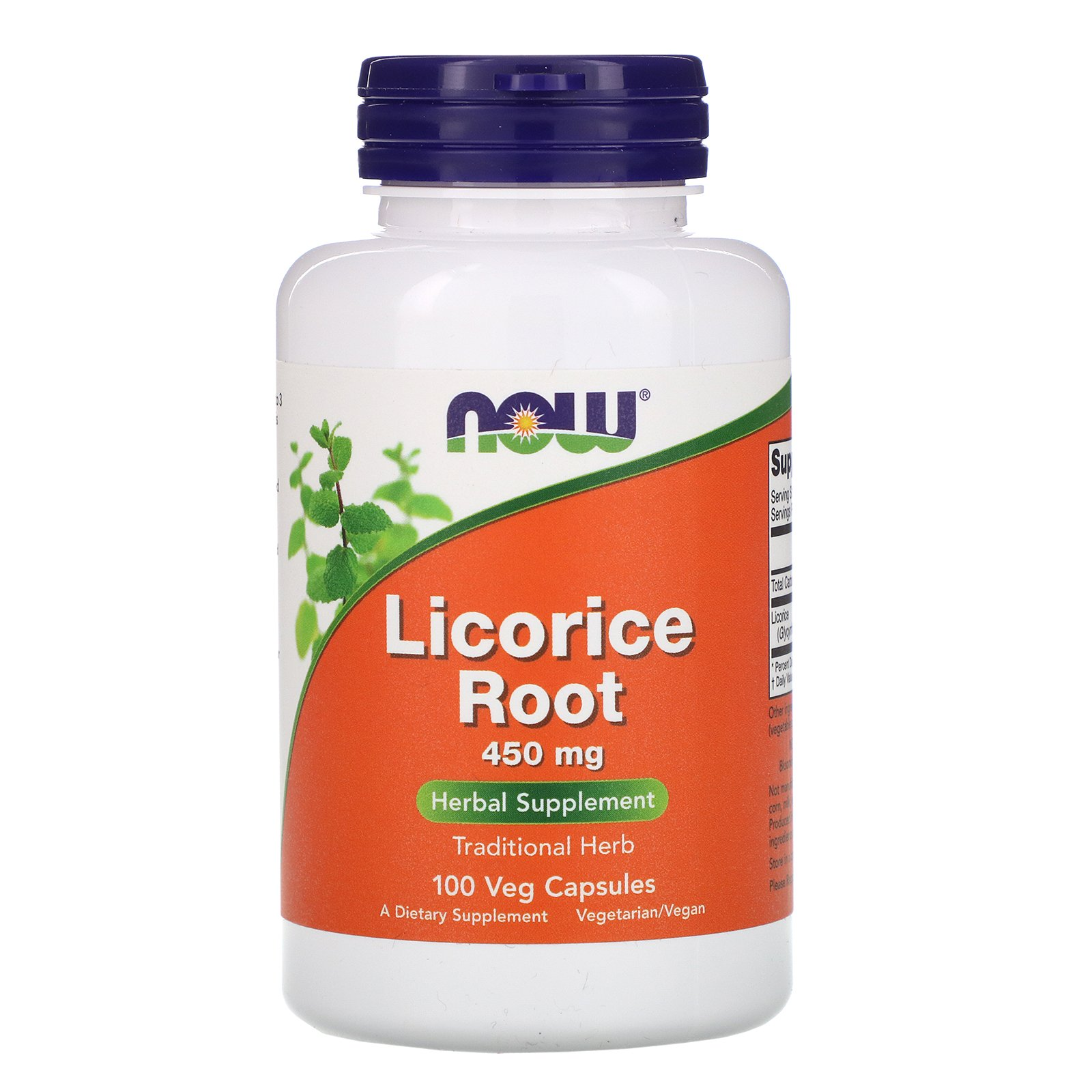 NOW Licorice Root, Корень Солодки 450 мг - 100 капсул